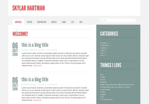 Пример лаконичного дизайна блога